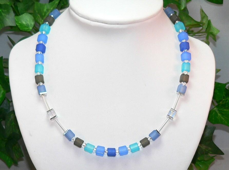 Würfelkette Halskette Cube Würfel blau grau türkis mehrfarbig multicolor  236f