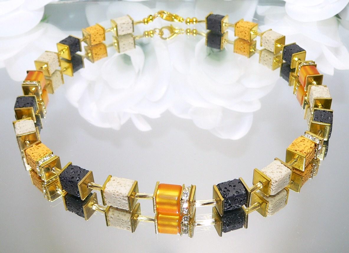 Kette Würfelkette Perlen Modeschmuck Hämatit kupfer braun schwarz gold  052R