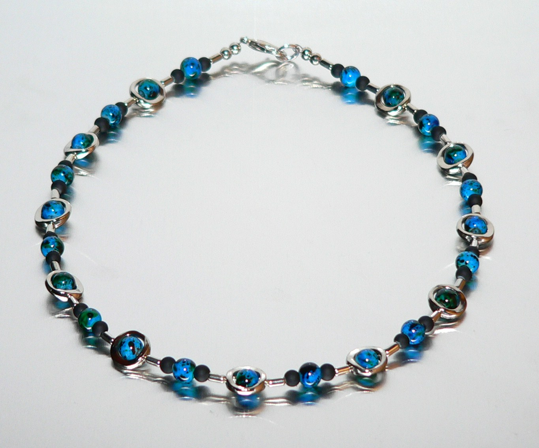 Kette Halskette GLAS PERLEN 6mm marmoriert BLAU METALL RAHMEN + ...