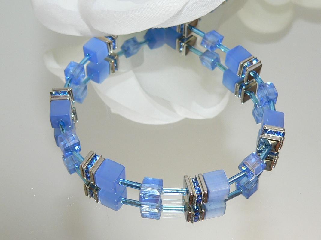 Armband Würfel Cube Cat Eye nachtblau dunkelblau Kristall Glas  blau strass 507.